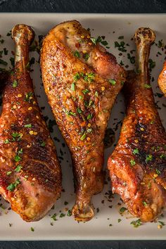 Smoked Turkey Legs with Brown Butter and Bourbon Glaze by @feedmedearly. If you're into a little savory spice, this dish is for you. Brined turkey legs are seasoned with a zesty garlic spice mixture, smoked until perfectly golden and glazed with a homemade brown butter bourbon sauce for a dish everyone will be asking for more of. ⠀