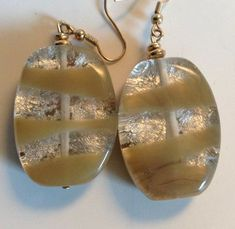 Taupe / Silver Metallic Stripe Drop Dangle Lucite Coated Earrings Pierced  #Unbranded #DropDangle