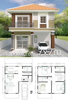 Home Design Plan with 3 Bedrooms - SamPhoas Plan - House Architecture Duplex House Plans, Bedroom House Plans, Modern House Plans, Small House Plans, House Floor Plans, Simple House Design, House Front Design, Modern House Design, 2 Storey House Design