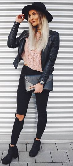 what to wear with a pink sweater : hat + leather jacket + bag + rips + boots