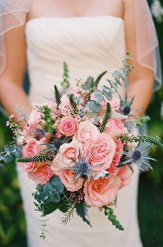 Charleston garden wedding via Coastal Bride pink bouquet