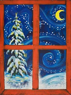 Red window christmas Snow scene Easy painting for beginners on canvas Acrylics The Art Sherpa