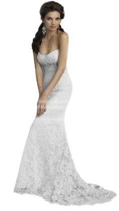 FairOnly Stock Lace White Wedding Dress Bridal Gown Size 6 8 10 12 14 16