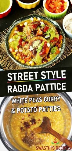 Ragda patties - A popular Mumbai street food where crisp potato patties are served with ragda – white peas gravy. It is topped with chutneys, sev, tomatoes and onions. #indianfood #snack #ragdapatties #ragdapattice