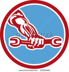 Illustration of a mechanic hand holding spanner wrench set inside circle on isolated background done in retro style. #mechanic #retro #illustration