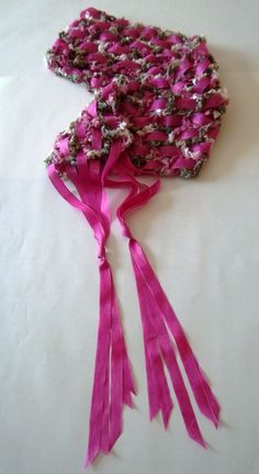 """I like this idea...  New: Hand-crocheted scarf worked in a varigated boucle yarn of """"pink camo"""": pink, green, brown, & cream, with pink ribbon woven through it. A soft, lightweight, & unusual boutique scarf. Sold.  https://www.etsy.com/shop/LynnHutchinsFineArt"""