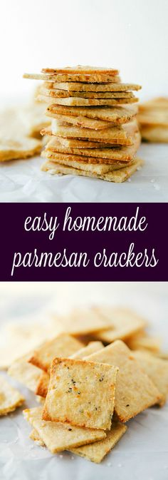 Easy Parmesan Crackers - Simple and quick minutes to make) homemade parmesan-herb crackers. Perfect for entertaining and snacking! Savory Snacks, Snack Recipes, Cooking Recipes, Healthy Homemade Snacks, Snacks To Make, Fingers Food, Savoury Biscuits, Homemade Crackers, Healthy Crackers