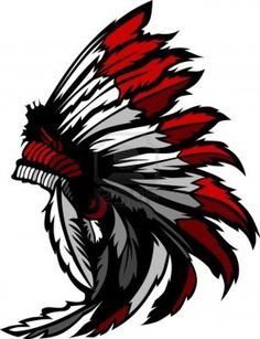 Illustration of Graphic Native American Indian Chief Mascot with Headdress vector art, clipart and stock vectors. Native American Drawing, Native American Tattoos, Native Tattoos, Native American Indians, Red Indian, Native Indian, Native Art, American Logo, American Indian Art