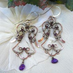 Copper and Amethyst Wire Wrapped Angel Earrings by KellsCreations, $55.00