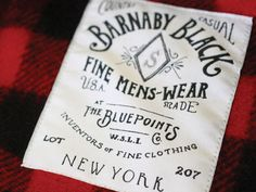 Jon Contino label design for Barnaby Black. Typography Letters, Typography Design, Hand Lettering, Branding Design, Tag Design, Label Design, Graphic Design, Typo Logo, Clothing Labels