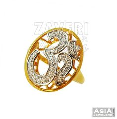 22K Ladies Fancy Om Ring Gold Rings Jewelry, Gold Jewellery, Jewelry Sets, Jewelery, Diamond Finger Ring, Ring Finger, Om Pendant, Gents Ring, Cocktail Rings