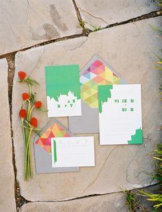 bright and geometric wedding invitations by Sweet Magnolia Paper - Ben Q Photography - http://ruffledblog.com/color-pop-wedding-ideas/