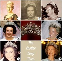 Maria Cristina and the other royal aldies of Spain who have worn the Cartier Loop tiara