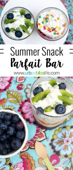 Make a Summer Snack Parfait Bar with your favorite fruit and sprinkles! This is an easy and delicious recipe that your family will enjoy! Everyone needs a fun summer snack food.