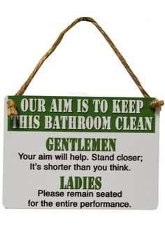 Bathroom Clean Mini Dangler Metal Sign @ rosefields.co.uk