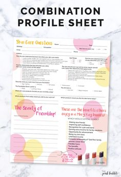 This sheet combines the Mary Kay Profile Card, 10 referrals & marketing all into one, cute sheet to use at facials and parties! Find it only at www.thepinkbubble.co!