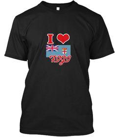 I Love Fiji Black T-Shirt Front - This is the perfect gift for someone who loves Fiji. Thank you for visiting my page (Related terms: I Heart Fiji,Fiji,Fijian,Fiji Travel,I Love My Country,Fiji Flag, Fiji Map,Fiji Language, Fiji Desig #Fiji, #Fijishirts...)