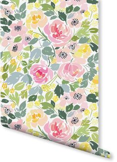 Teeming with a pleasant variety of pale greens, yellows and pinks. This magnificent floral wallpaper evokes images of an English country garden on a warm summer's day. Ideal for quirky and fun kitchen spaces.