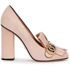c8458c302712 Gucci Pink Fringed Suede Loafers - Size 8 ( 745) ❤ liked on Polyvore  featuring