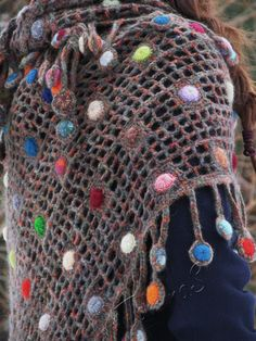 """Raindrops"" (crochet shawl, wrap, filet lace, wool shawl, crochet drops)"