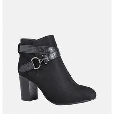 Avenue Cora Sueded Bootie ($24) ❤ liked on Polyvore featuring shoes, boots, ankle booties, black, plus size, black suede bootie, faux suede boots, black suede ankle booties, suede booties and black bootie boots