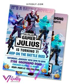 Fortnite Invitation Season Digital Files will be delivered within or less! FREE Thank you card included! Digital Invitations, Birthday Invitations, Fortnite Season 11, Free Thank You Cards, Text Messages, Rsvp, Birthday Parties, File Format, Seasons