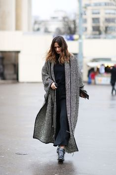How To Dress Like A French Girl #refinery29  http://www.refinery29.com/63682#slide-52  Here's proof that a blanket coat (or blanket scarf!) can finish off an outfit — comfortably.