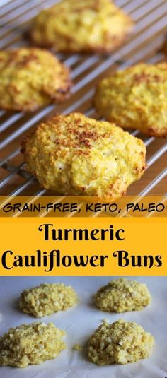 Try these Grain-Free Turmeric Cauliflower Buns for a super healthy side dish that is paleo and keto-diet friendly. Only 4 ingredients. #keto #ketodiet #lowcarb #hflc #paleo #paleorecipes #ketorecipes #sidedish #glutenfree #grainfree