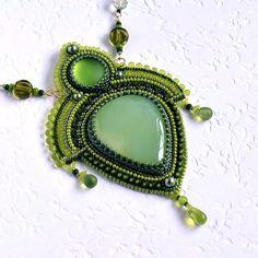 Embroidered Necklace - beadwork jewelry - beaded embroidery jewelry - Evergreen