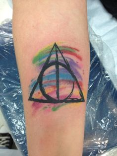 My watercolor Deathly Hallows Tattoo