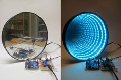 Awesome project: Arduino-Controlled RGB LED Infinity Mirror by Ben Finio Tolles Projekt: Arduino-gesteuerter RGB-LED-Infinity-Spiegel von Ben Finio Diy Electronics, Electronics Projects, Led Infinity Mirror, Infinity Lights, Infinity Table, Infinity Room, Infinity Rings, Infinity Wedding, Infinity Spiegel