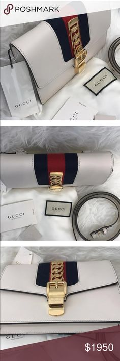Gucci Sylvie Leather Belt Bag The Sylvie belt bag adds versatile functionality and can be also worn as a cross body bag. The metal buckle closure was taken from the House's archives and is mixed playfully with the Web stripe. Made in our smooth, classic leather. White leather. Blue and Red Web. Gold-toned hardware. Interior zip and open pockets. Adjustable belt closure. Nylon Web detail with a Suede-like finish. Made in Italy. Belt size is 85. Gucci Bags Crossbody Bags