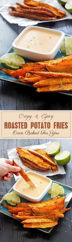 These spicy roasted potato fries are extremely tasty and are almost always served with sweet chili sauce or sour cream. #roastedpotatofries #potatofriesbaked #potatofriesbakedwedges #potatofriesbakedhomemade #potatofriesrecipe