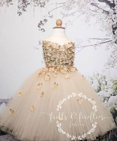 Golden Champagne Flower Girl Dress is elegantly accented with Hydrangea flower petals (petals have a hint of olive green in the centers) and have either pearl or rhinestone centers. Wedding Dresses For Girls, Girls Dresses, Bridesmaid Dresses, Prom Dresses, Formal Dresses, Dress Prom, Champagne Flower Girl, Hydrangea Flower, Flower Petals