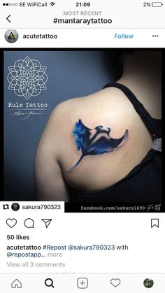 Manta ray tattoo Put by Nana's Tattoo Dove Tattoos, Ocean Tattoos, Octopus Tattoos, Shark Tattoos, Mermaid Tattoos, Body Art Tattoos, Sleeve Tattoos, Tatoos, Hammerhead Shark Tattoo
