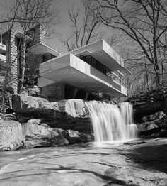 Fallingwater, Frank Lloyd Wright, Bear Run, PA | From a unique collection of black and white photography at https://www.1stdibs.com/art/photography/black-white-photography/