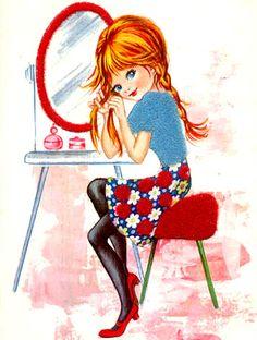Vintage Big Eyed Postcard art, 1960's.