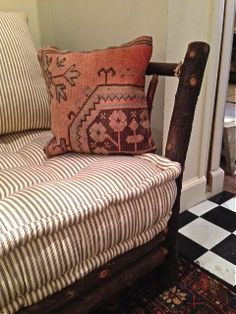 """Detailing of """"vintage mattress"""" cushion. Newly created by Willowbranch Upholstery with soft cream and brown striped ticking. $1895 Farmhouse Style Curtains, Wing Chairs, Hickory Furniture, Feather Pillows, Pillow Talk, Ticks, Porch Swing, Bambi, Wingback Chair"""