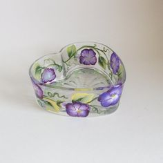 Heart shaped dish with morning glories - great for Valentines Décor or anytime.