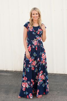 Navy Floral Wrap Dress - cap sleeves – Simply Sage Market