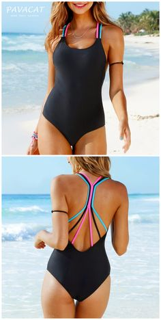 Rainbow Straps Black One Piece Swimsuit Rainbow on your shoulder, wear it to enjoy your vacation. Black One Piece Swimsuit, One Piece Suit, One Piece Swimwear, Cute Swimsuits, Women Swimsuits, Monokini Swimsuits, Look Blazer, Cut Out Bikini, Beach Attire