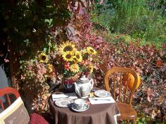 Tea for two in an autumn garden with brown transferware.
