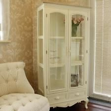 Glazed Display Cabinet cream wooden glass china shelves shabby french chic