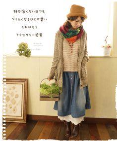 Ladies/mori girl/stole/knitting/Japanese Fashion/cute