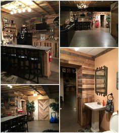 Over 1000 pallets went into this man cave. The walls, ceiling, bar, trim, doors, and wine racks are all recycled pallets. Can't wait to add more deco using
