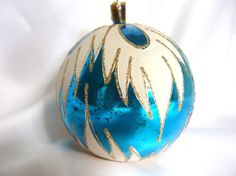Vintage Extra Large Mid Century Plastic Christmas Ornament, Blue and White Hand Painted Holiday Ornament