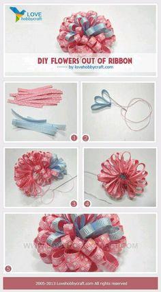 ribbon flower photo only. Ribbon Art, Diy Ribbon, Ribbon Crafts, Flower Crafts, Ribbon Flower, Ribbon Hair Bows, Diy Hair Bows, Diy Bow, Handmade Flowers