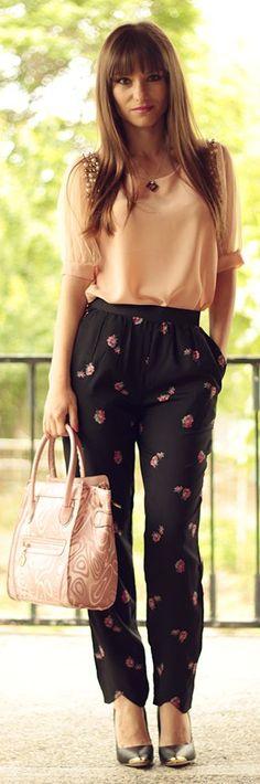 Choies black printed pants