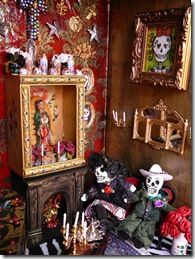detail of Day of the Dead Doll House. Day Of The Dead Art, Haunted Dollhouse, Mexican Folk Art, Time To Celebrate, Memento Mori, Altered Art, Halloween, Painting, Sugar Skulls