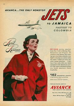 Avianca Airline Print ad Vintage 60 s Color Illustration Red Ruana service original 1961 ad Travel Ads, Air Travel, Vintage Luggage, Vintage Travel Posters, Vintage Ephemera, Vintage Ads, Vintage Airline, Jamaica, Old Advertisements